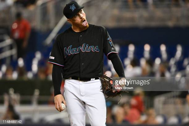 Jeff Brigham of the Miami Marlins gets ready to deliver a pitch in the seventh inning against the Atlanta Braves at Marlins Park on June 7 2019 in...