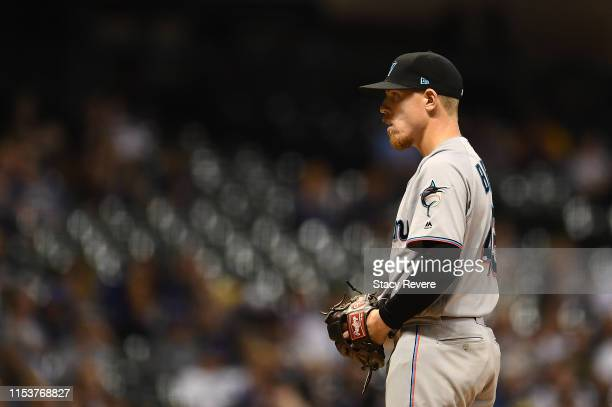 Jeff Brigham of the Miami Marlins looks to the catcher during the eighth inning against the Milwaukee Brewers at Miller Park on June 04 2019 in...