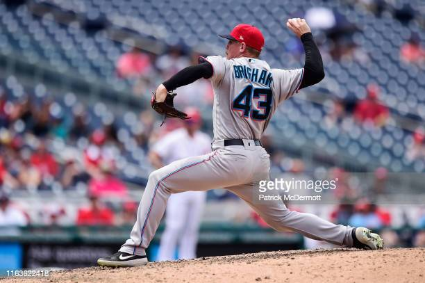 Jeff Brigham of the Miami Marlins pitches in the eighth inning against the Washington Nationals at Nationals Park on July 4 2019 in Washington DC