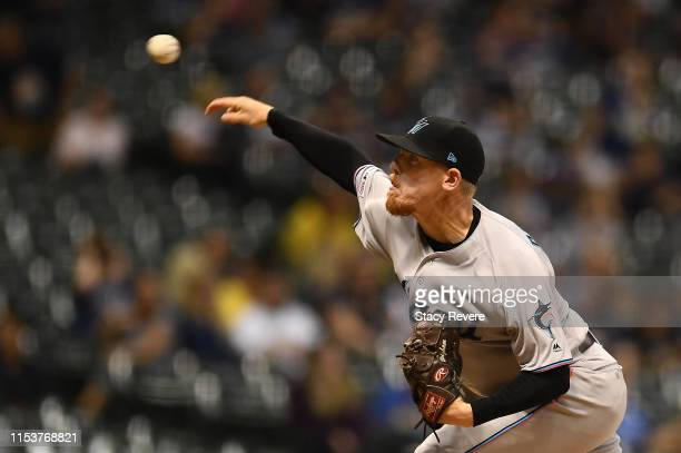 Jeff Brigham of the Miami Marlins throws a pitch during the eighth inning against the Milwaukee Brewers at Miller Park on June 04 2019 in Milwaukee...