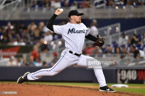Jeff Brigham of the Miami Marlins throws a pitch during the game against the Atlanta Braves at Marlins Park on August 8 2019 in Miami Florida