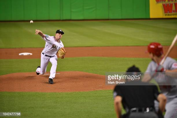 Jeff Brigham of the Miami Marlins throws a pitch in the first inning against the Cincinnati Reds at Marlins Park on September 20 2018 in Miami Florida