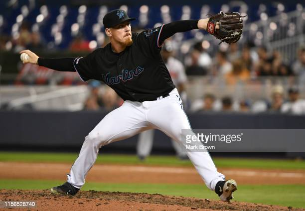 Jeff Brigham of the Miami Marlinst delivers a pitch against the Atlanta Braves at Marlins Park on June 7 2019 in Miami Florida