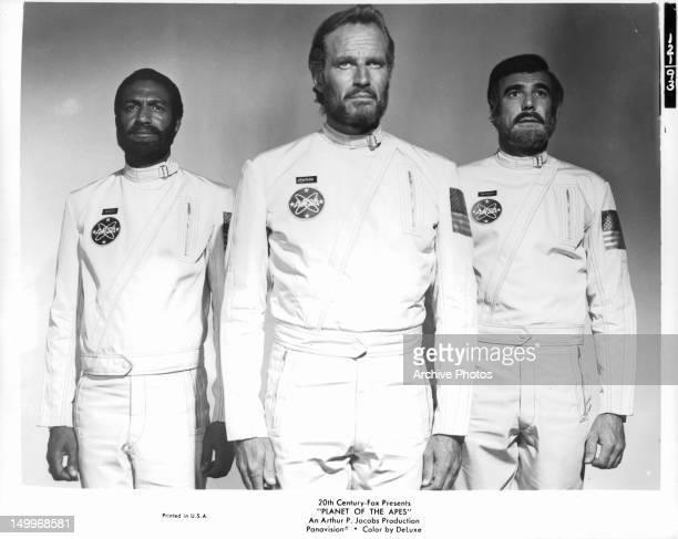 Jeff Burton Charlton Heston and Robert Gunner publicity portrait for the film 'Planet Of The Apes' 1968