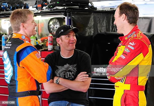 Jeff Burton driver of the ATT Mobility Chevrolet Clint Bowyer driver of the Jack Daniels Chevrolet and Kevin Harvick driver of the Pennzoil Chevrolet...