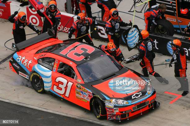 Jeff Burton driver of the ATT Mobility Chevrolet pits during the NASCAR Sprint Cup Series Food City 500 at the Bristol Motor Speedway on March 16...