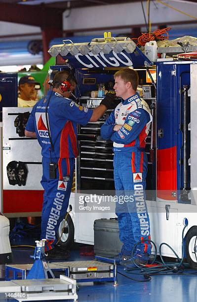 Jeff Burton Driver of the Citgo Ford Taurus during practice for the EA Sports 500 at Talladega Superspeedway on October 4 2002 in Talladega Alabama