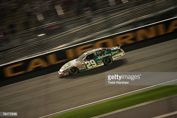 Jeff Burton driver of the Holiday Inn Chevrolet drives during the NASCAR Busch Series Camping World 300 at California Speedway on September 1 2007 in...