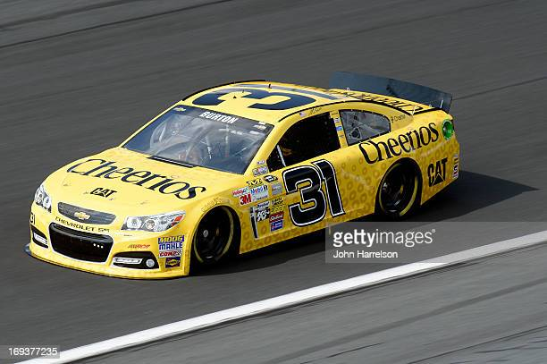 Jeff Burton drives the Cheerios Chevrolet during practice for the NASCAR Sprint Cup Series CocaCola 600 at Charlotte Motor Speedway on May 23 2013 in...