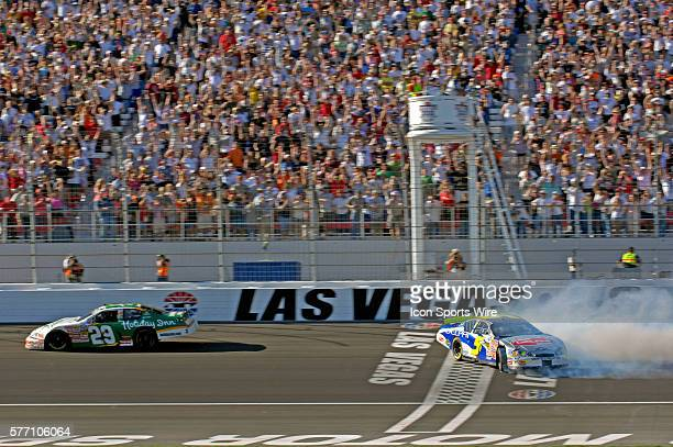 Jeff Burton the No29 Holiday Inn car and Kyle Busch make contact coming to the finish line during the Sam's Town 300 NASCAR Busch Grand National race...