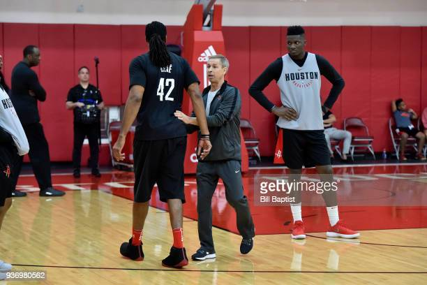 Jeff Bzdelik coaches during a Houston Rockets practice at Toyota Center in Houston Texas on March 14 2018 NOTE TO USER User expressly acknowledges...