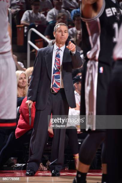 Jeff Bzdelik of the Houston Rockets coaches in Game Four of the Western Conference Semifinals against the San Antonio Spurs during the 2017 Playoffs...