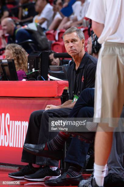 Jeff Bzdelik of the Houston Rockets looks on from the bench during the 2017 Summer League game against the Denver Nuggets on July 12 2017 at the...