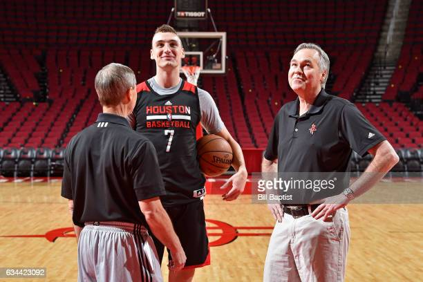 Jeff Bzdelik Sam Dekker and Mike D'Antoni of the Houston Rockets smile and talk during an all access practice on February 2 2017 at the Toyota Center...