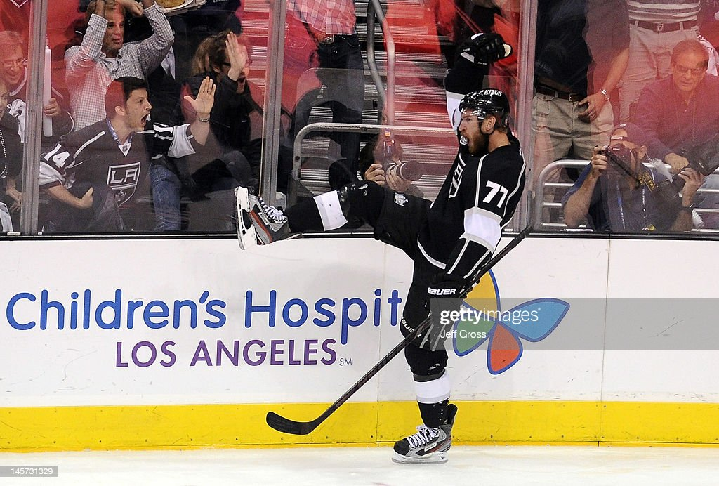 Jeff Carter #77 of the Los Angeles Kings celebrates his goal in the third period against the New Jersey Devils in Game Three of the 2012 Stanley Cup Final at Staples Center on June 4, 2012 in Los Angeles, California.