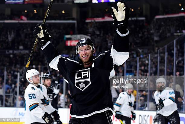 Jeff Carter of the Los Angeles Kings celebrates his goal to tie the score 2-2 with the San Jose Sharks during the second period in Game One of the...