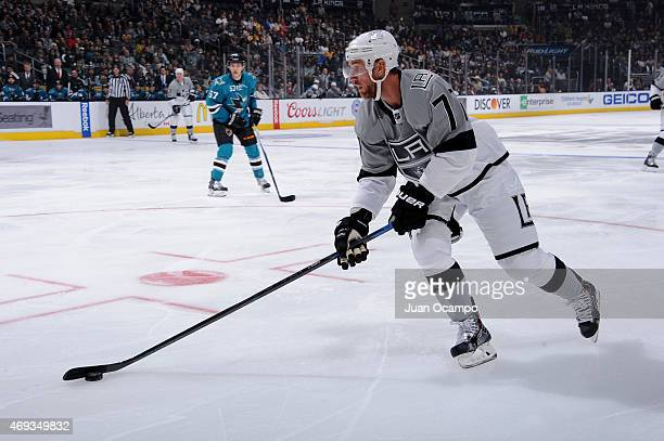 Jeff Carter of the Los Angeles Kings handles the puck before a game against the San Jose Sharks at STAPLES Center on April 11 2015 in Los Angeles...