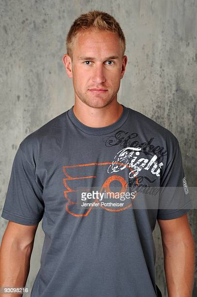 Jeff Carter of the Philadelphia Flyers poses for the NHLI Stylized Portrait shoot during the NHL Media Tour at the Empire Hotel on September 8 2009...