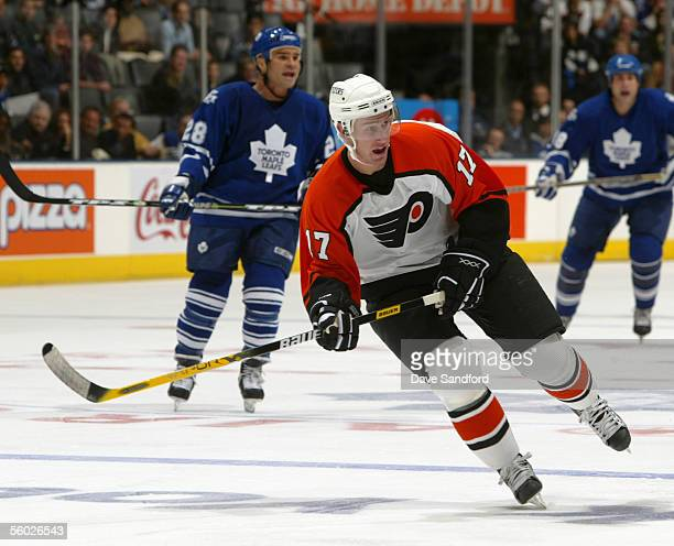 Jeff Carter of the Philadelphia Flyers skates during the NHL game against the Toronto Maple Leafs at the Air Canada Centre on October 22 2005 in...