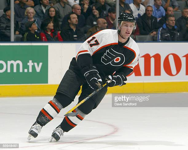 Jeff Carter of the Philadelphia Flyers skates during their NHL season game against the Toronto Maple Leafs at the Air Canada Centre October 11 2005...