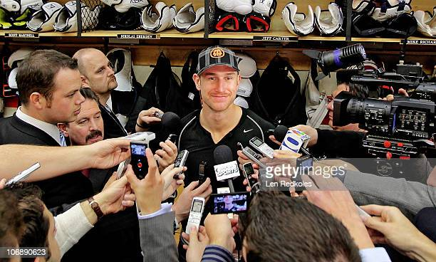 Jeff Carter of the Philadelphia Flyers speaks to the media after defeating the Florida Panthers 52 on November 13 2010 at the Wells Fargo Center in...