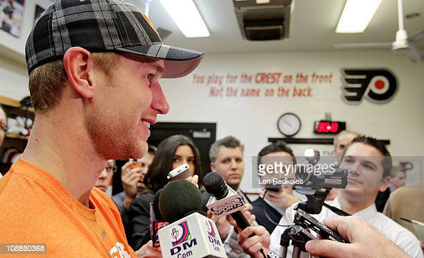 Jeff Carter of the Philadelphia Flyers speaks to the media after defeating the Nashville Predators 32 on February 3 2011 at the Wells Fargo Center in...