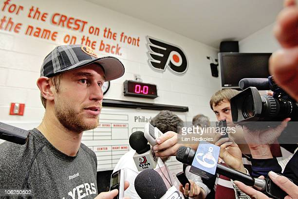 Jeff Carter of the Philadelphia Flyers talks to the media after a 63 win over the Buffalo Sabres on October 26 2010 at the Wells Fargo Center in...