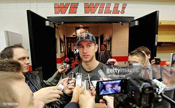 Jeff Carter of the Philadelphia Flyers talks to the media following a 53 win over the New Jersey Devils on December 4 2010 at the Wells Fargo Center...