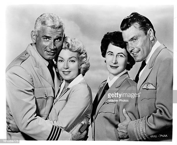 Jeff Chandler Lana Turner Andra Martin in publicity portrait for the film 'The Lady Takes a Flyer' 1958