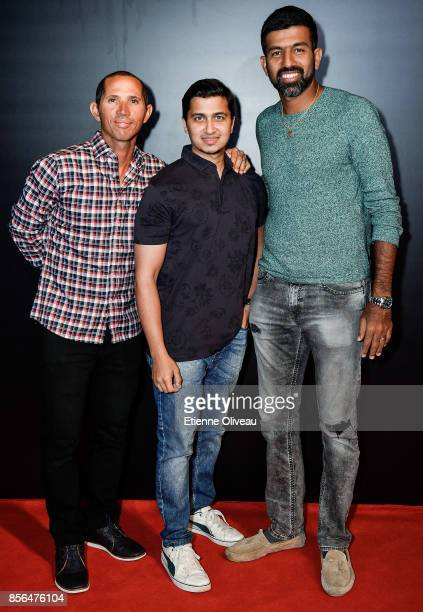 Jeff Coetzee of South Africa and Rohan Bopanna of India attends the 2017 China Open Player Party at Beijing Olympic Tower on October 1, 2017 in...