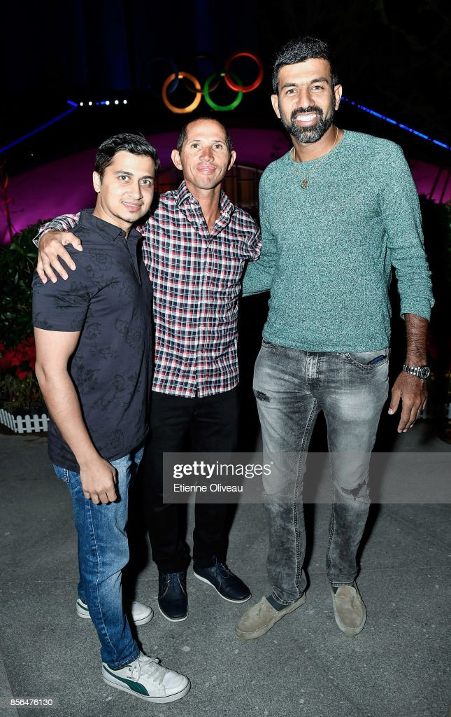 Jeff Coetzee (L) of South Africa and Rohan Bopanna of India (R) attends the 2017 China Open Player Party at Beijing Olympic Tower on October 1, 2017 in Beijing, China.