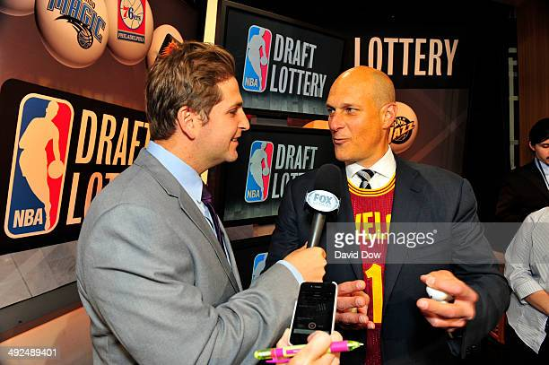 Jeff Cohen Vice Chairman of the Cleveland Cavaliers speaks to the media after the 2014 NBA Draft Lottery on May 20 2014 at the ABC News' 'Good...
