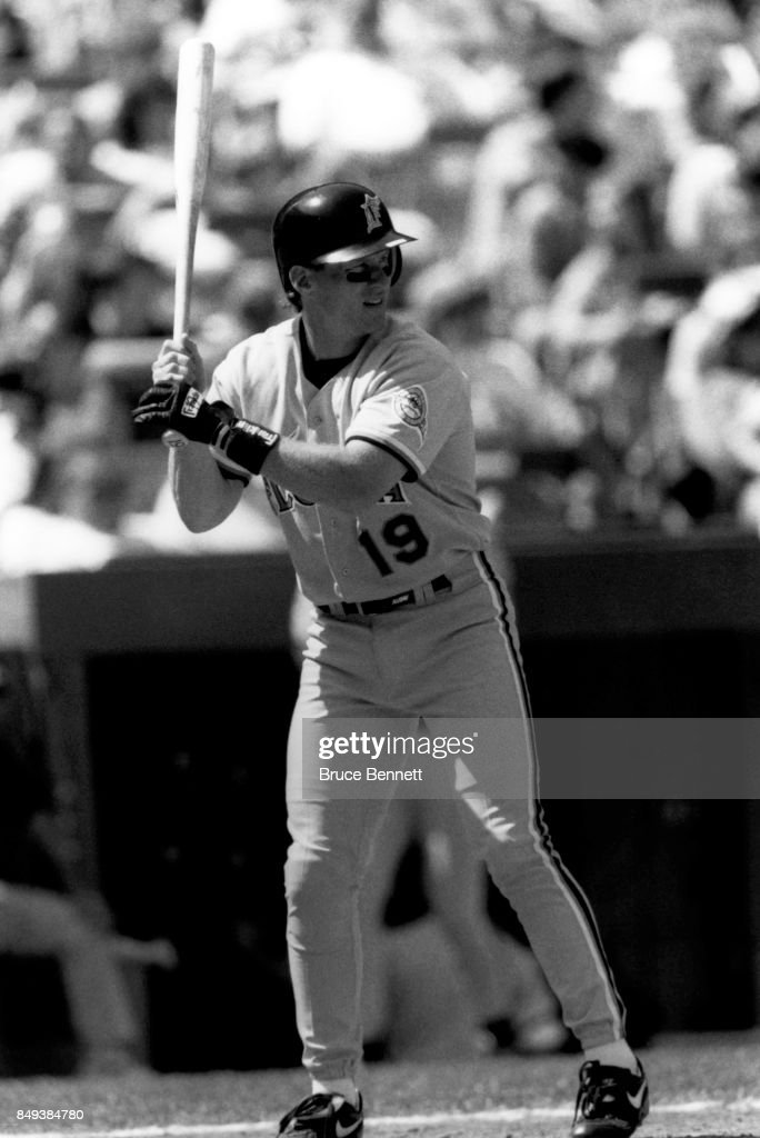 Jeff Conine #19 of the Florida Marlins bats during an MLB game against the New York Mets circa 1995 at Shea Stadium in Flushing, New York.