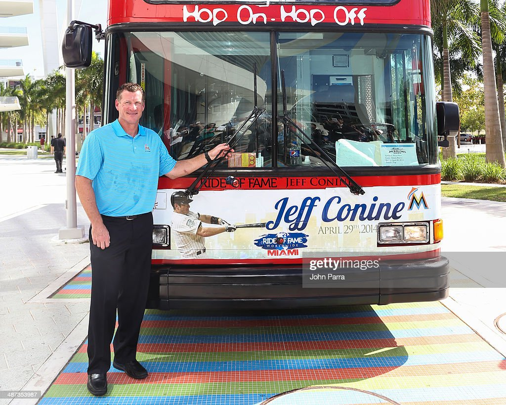 Jeff Conine poses while being honored as the Ride of Fame Inducts 1st Miami Honoree Jeff Conine as part of worldwide expansion at Marlins Park on April 29, 2014 in Miami, Florida.