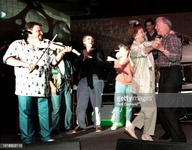 Jeff Cook of Country Group Alabama Jack Carter Elizabeth Carter Former First Lady Rosalynn Carter and Former President Jimmy Carter on stage at...