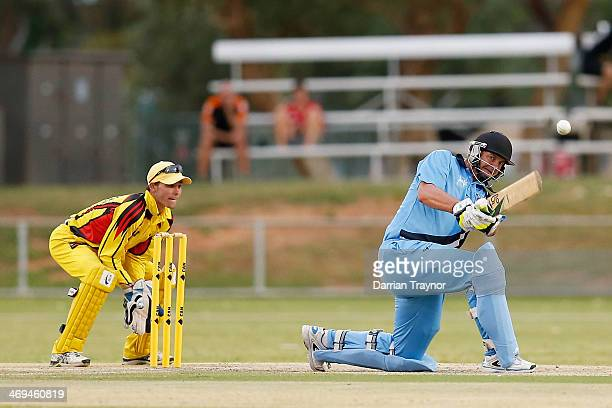Jeff Cook of New South Wales plays a shot during the Imparja Cup Final between New South Wales and Western Australia at Traeger Park on February 15...