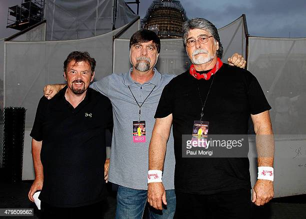 Jeff Cook Teddy Gentry and Randy Owen of the country music band Alabama pose for a photo backstage at A Capitol Fourth 2015 Independence Day concert...