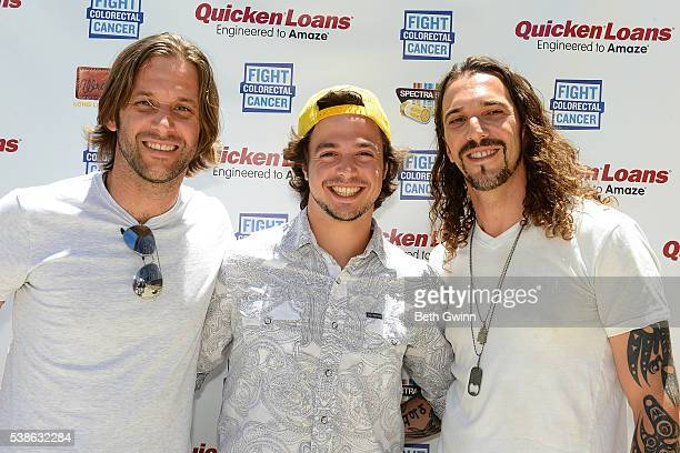 Jeff Coplan Brad Cummings and Ian Munsick of the band Blackjack Billy attend the celebrity cornhole challange on June 7 2016 in Nashville Tennessee