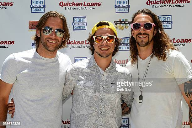 Jeff Coplan, Brad Cummings, and Ian Munsick of the band Blackjack Billy attend the Celebrity Cornhole challange on June 7, 2016 in Nashville,...