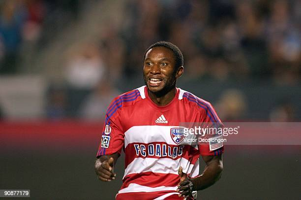 Jeff Cunningham of FC Dallas reacts after scoring in the first half against the Los Angeles Galaxy during the MLS match at The Home Depot Center on...