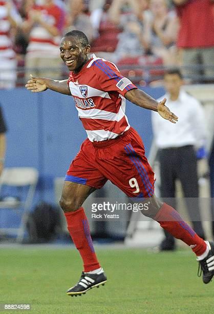 Jeff Cunningham of the FC Dallas celebrates after scoring a goal against the New York Red bulls at Pizza Hut Park on July 4, 2009 in Frisco, Texas.