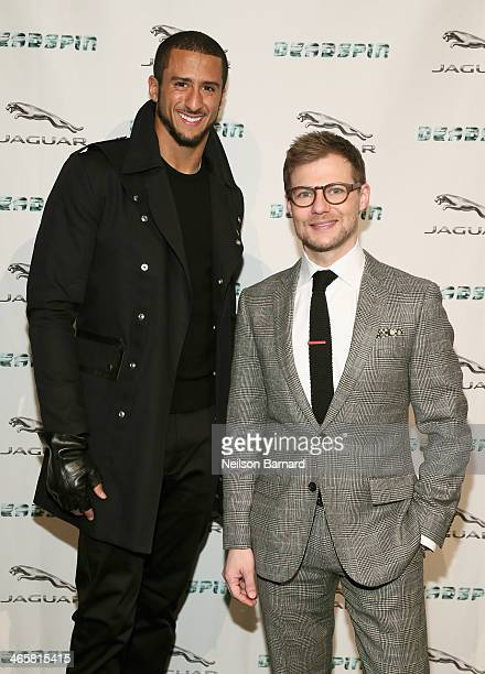 Jeff Curry Brand Vice President Jaguar North America and San Francisco 49er and friend of the brand Colin Kaepernick at the Jaguar and Deadspin VIP...
