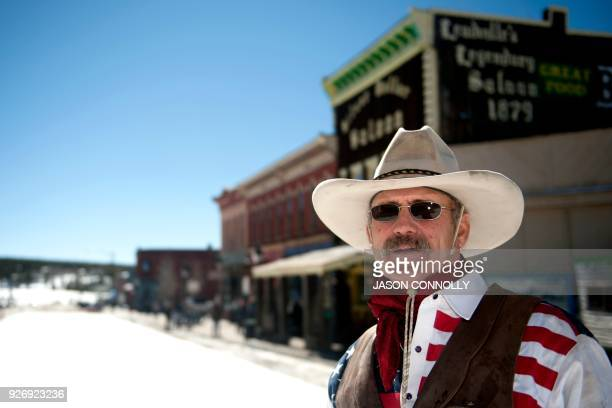 Jeff Dahl of Durango Colorado poses for a portrait outside of the Silver Dollar Salon during the 70th annual Leadville Ski Joring weekend competition...