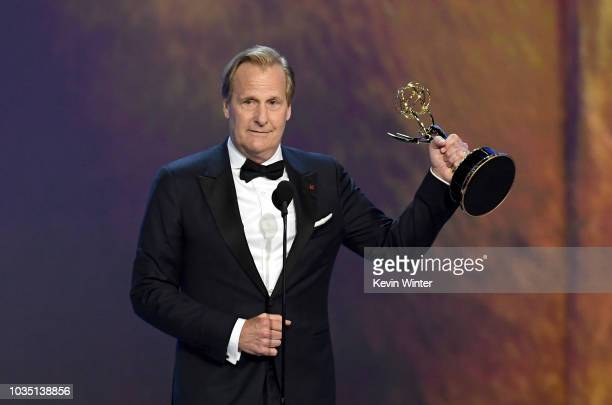 Jeff Daniels accepts the Outstanding Lead Actor in a Limited Series or Movie award for 'Godless' onstage during the 70th Emmy Awards at Microsoft...