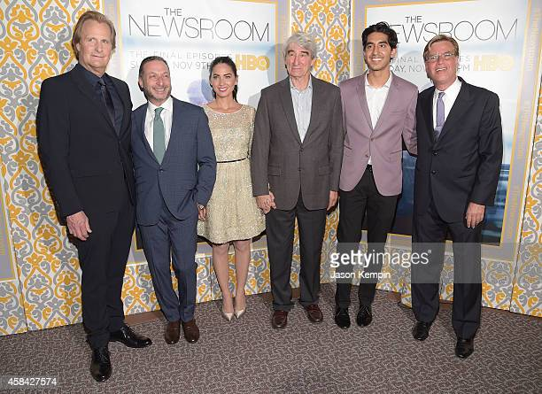 Jeff Daniels Alon Poul Olivia Munn Sam Waterston Dev Patel and Aaron Sorkin attend the premiere of HBO's Newsroom Season 3 at Directors Guild Of...