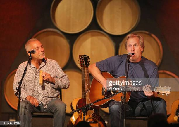 Jeff Daniels invites an audience member on stage to play a wooden train whistle when he performs with the Ben Daniels Band at City Winery on August...