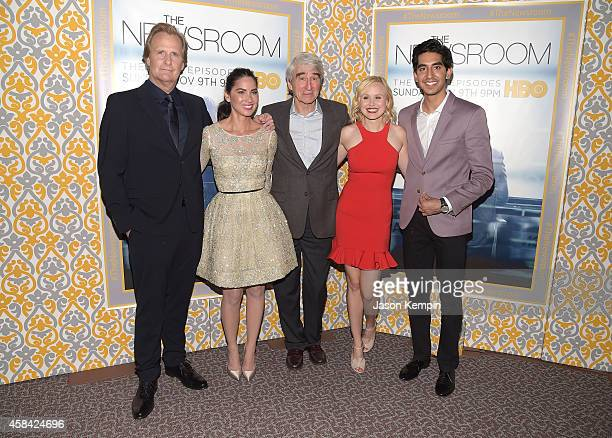 Jeff Daniels Olivia Munn Sam Waterston Alison Pill and Dev Patel attend the premiere of HBO's Newsroom Season 3 at Directors Guild Of America on...