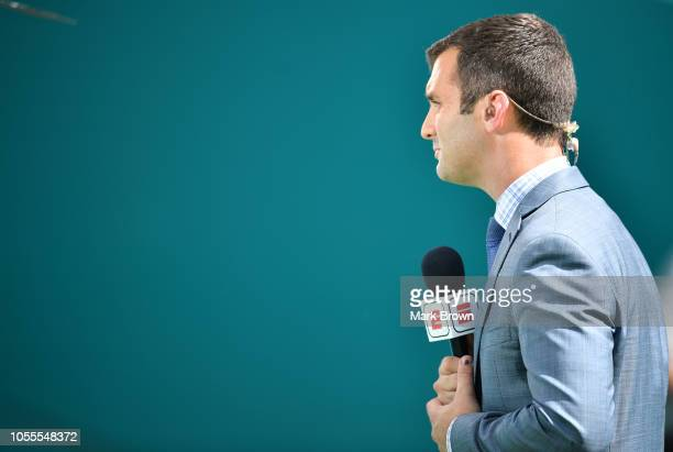 Jeff Darlington of ESPN during a live segment before the game between the Miami Dolphins and the Chicago Bears at Hard Rock Stadium on October 14...