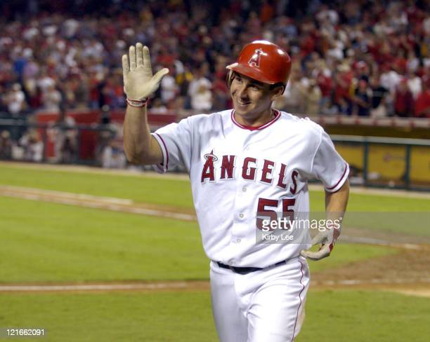 Jeff DaVanon of the Anaheim Angels heads toward the dugout after a solo home run in the seventh inning of 216 victory over the Kansas City Royals at...