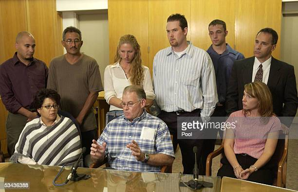 Jeff Davis whose mother Dolores Davis became the last Dennis Rader's victim in 1991 talks during a press conference of family members of the victims...